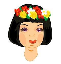 wreath on head of the girl vector image