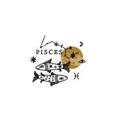 Zodiac pisces boho magical vintage distressed art vector