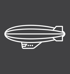 Airship blimp line icon transport and air vector