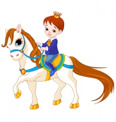 cartoon prince on horse vector image vector image