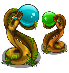 figurines of snakes holding balls blue and green vector image vector image