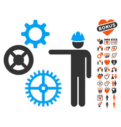 gears mechanics presentation icon with dating vector image vector image