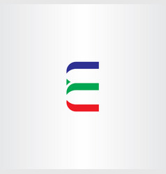 Letter e red green blue icon vector