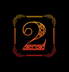 number 2 with ornament vector image vector image