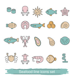 seafood line icons seafood line icons vector image