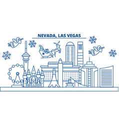 usa nevada las vegas winter city skyline merry vector image