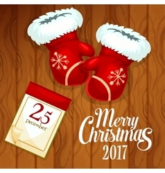 Xmas card with santas glove on wooden background vector