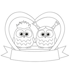 black and white valentine day poster with an owl vector image vector image