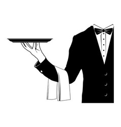 butler holding tray vector image