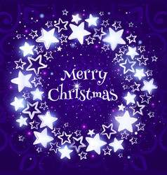 christmas wreath on purple background circle vector image