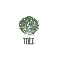 Stylized round shaped green oak tree logo template vector image