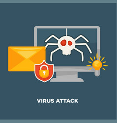 virus attack on computer in cartoon flat style vector image vector image