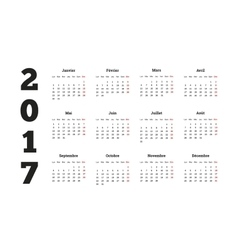 2017 year simple calendar on french language vector image vector image