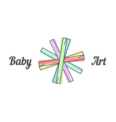 baby art sign with line paper strips vector image vector image