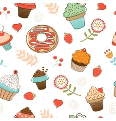 Colorful seamless desserts pattern vector image vector image