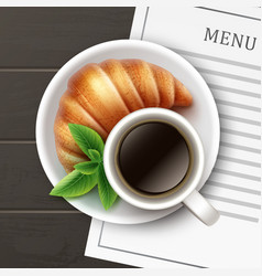 fresh french croissant vector image vector image