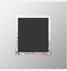Photo frame with bright confetti vector