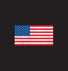 grunge usa flag on black background vector image