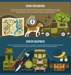 hunting horizontal banners set vector image vector image