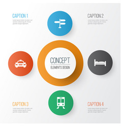 Journey icons set collection of doss direction vector