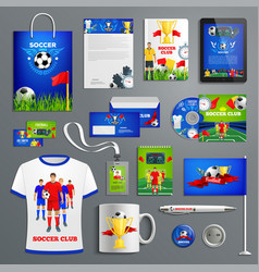 soccer sport club corporate identity set vector image vector image