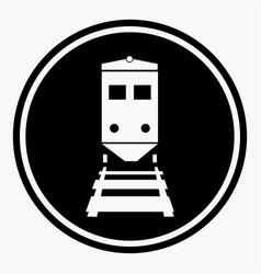 warning sign attention train symbol black circle vector image