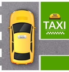 Yellow taxi cab top view banner vector image vector image