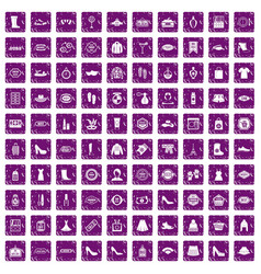 100 woman shopping icons set grunge purple vector image