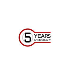 5 years anniversary with circle outline red color vector