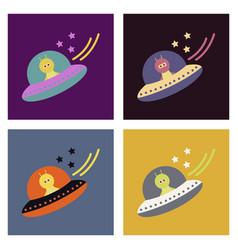 A little cartoon flying saucer flies vector