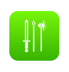 Ancient weapon sword pick and axe icon digital vector