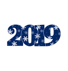 Appy new year card blue number 2019 with vector
