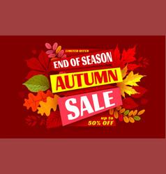 autumn sale end season advertising banner vector image