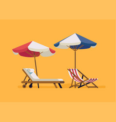 Beach chairls with parasols vector