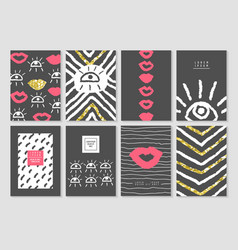 Black and gold design card template set vector