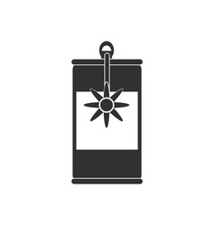 Black icon on white background canned food can vector