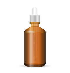 Brown glass cosmetic bottle with dropper vector