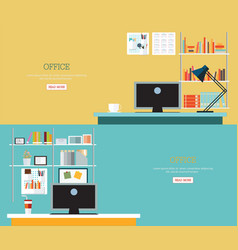 business office interior style vector image