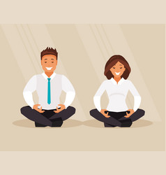 Business people meditation vector