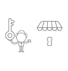 Businessman character holding key and wih keyhole vector