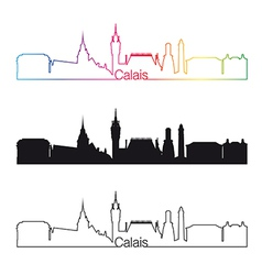 Calais skyline linear style with rainbow vector image