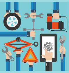 Car online service modern flat design vector