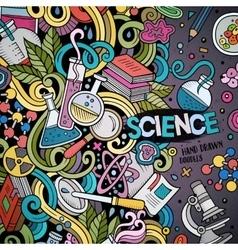 Cartoon cute doodles hand drawn Science frame vector