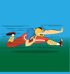 Cartoon football player running with the ball in vector
