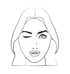 Character face woman wink beauty attractive line vector