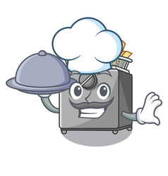 Chef with food cooking french fries in deep fryer vector
