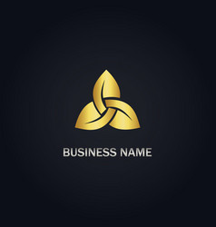 circle gold leaf logo vector image