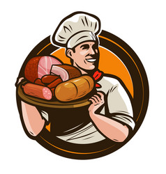 cook holding a tray of meat products butcher shop vector image