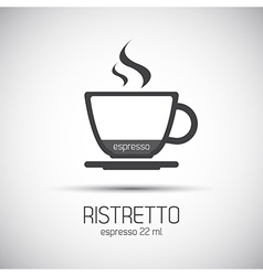 Cup of espresso ristretto simple icons vector image