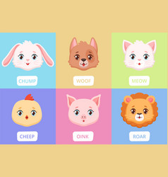 cute animal faces cartoon wild characters baby vector image